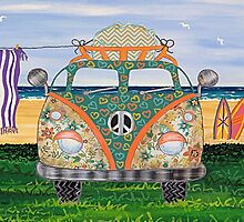 Kombie Campers (Green) by Lisa Frances Judd~QuirkyHappyArt