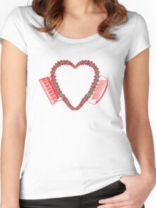 Flowered Accordion Bellows Heart  Red Outline Women's Fitted Scoop T-Shirt