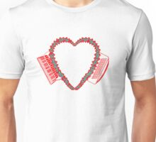 Flowered Accordion Bellows Heart  Red Outline T-Shirt