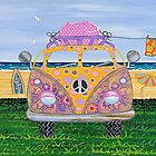 Kombie Campers (Yellow) by Lisa Frances Judd~QuirkyHappyArt