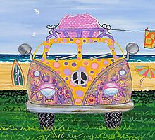 Kombie Campers (Yellow) by Lisa Frances Judd ~ QuirkyHappyArt