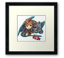 Httyd 2 - Chibi Hiccup and Toothless Framed Print