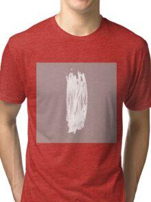 Simple Minimalistic White Brushtrokes on Beige Tri-blend T-Shirt