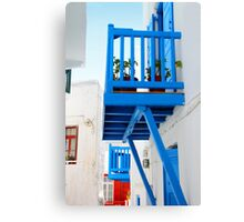 A Blue Balcony, Mykonos Canvas Print