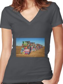 Cadillac Ranch  Women's Fitted V-Neck T-Shirt