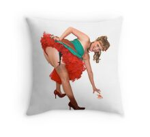 Pin up girl with red knickers Throw Pillow
