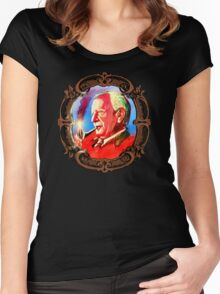J. R. R. Tolkien Portrait with Orodruin Pipe Women's Fitted Scoop T-Shirt