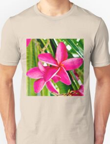 Tropical Pink Plumeria Flower Blooms Unisex T-Shirt