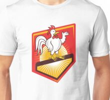 Rooster Cockerel Waving Hello Shield Cartoon Unisex T-Shirt