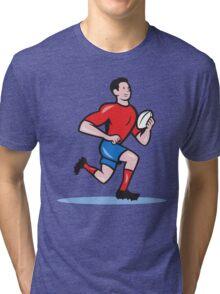 Rugby Player Running Ball Cartoon Tri-blend T-Shirt