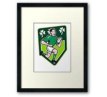Irish Rugby Player Running Ball Shield Cartoon Framed Print