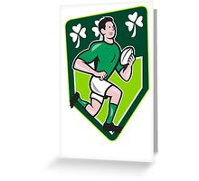 Irish Rugby Player Running Ball Shield Cartoon Greeting Card