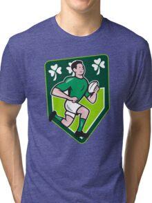 Irish Rugby Player Running Ball Shield Cartoon Tri-blend T-Shirt