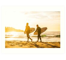Morning Surfers Art Print