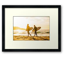 Morning Surfers Framed Print