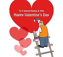 Valentine's Day Nephew & Wife Cards, Red Hearts, Painter Cartoon  by Sagar Shirguppi