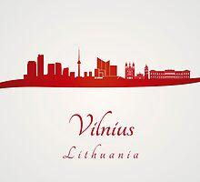 Vilnius skyline in red by paulrommer