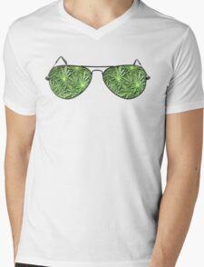 Green Aviators. Mens V-Neck T-Shirt