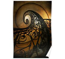 Spiral staircase with ornamented handrail Poster