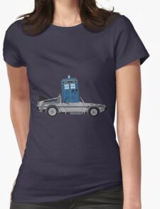 Drive Time [Dr. Who vs BTTF] Womens Fitted T-Shirt