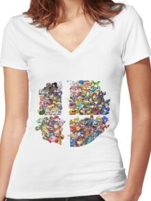 Super Smash Bros. 4 Ever Women's Fitted V-Neck T-Shirt