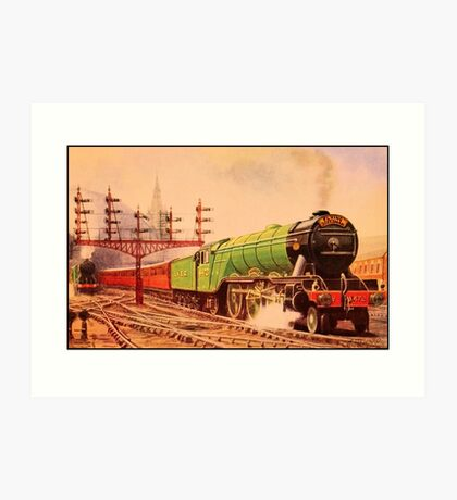 The flying Scotsman, vintage train watercolour Art Print