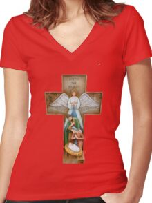 The Crucifix Women's Fitted V-Neck T-Shirt