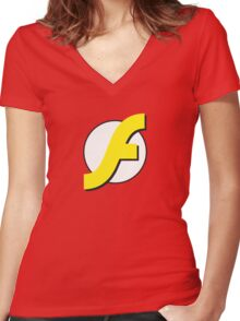 It Runs Like a Flash on DDR4 Women's Fitted V-Neck T-Shirt
