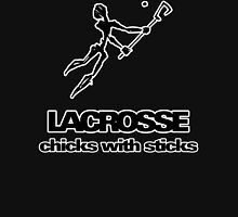 Lacrosse Chicks With Sticks Dark Womens Fitted T-Shirt