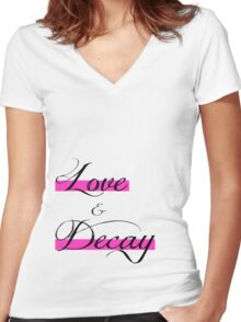 Love & Decay Pink T Women's Fitted V-Neck T-Shirt