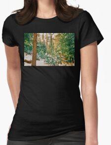 Winter Forest Golden Light Womens Fitted T-Shirt