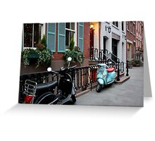 Vespas - Black & Sea Foam Greeting Card