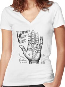 Palmreading - Vintage palmistry - Fortunetelling - NewAge - Tarot - Psychic Women's Fitted V-Neck T-Shirt