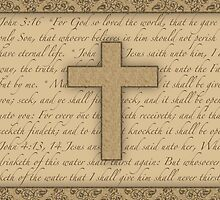 Christian Cross w/ Scriptures Print by thepixelgarden