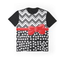 Ribbon, Bow, Dog Paws, Zigzag - White Black Red Graphic T-Shirt