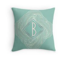 1920s Blue Deco Swing with Monogram letter B Throw Pillow