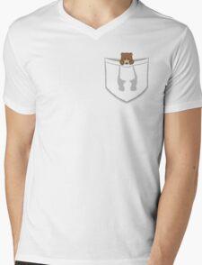 Pocket Bear Mens V-Neck T-Shirt