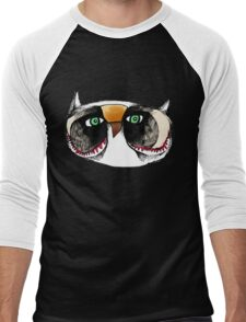 The Owl with Green Eyeballs Men's Baseball ¾ T-Shirt
