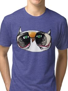 The Owl with Green Eyeballs Tri-blend T-Shirt