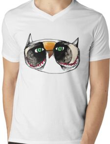The Owl with Green Eyeballs Mens V-Neck T-Shirt