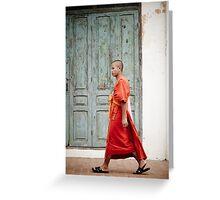 Monk walking in Luang Prabang Greeting Card