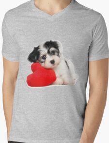 Cute dog and Heart-shaped Mens V-Neck T-Shirt
