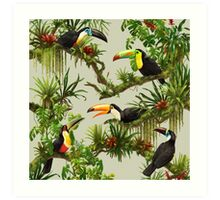 Toucans and bromeliads - canvas background Art Print
