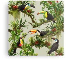 Toucans and bromeliads - canvas background Metal Print