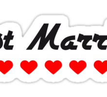 Just Married Heart Design Sticker