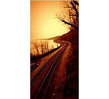 Train Tracks by the Hudson River - Angular Crop Photographic Print