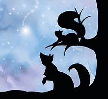 Woodland Shadows - Fox and Squirrel:Winter by artemissart