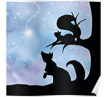 Woodland Shadows - Fox and Squirrel:Winter Poster