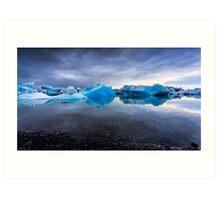 Sunset Lagoon: Glaciers at Jökulsárlón, Iceland Art Print