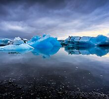 Sunset Lagoon: Glaciers at Jökulsárlón, Iceland by Wax Museum Media